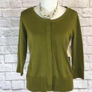 Coldwater Creek green silk cotton cardigan L NWT